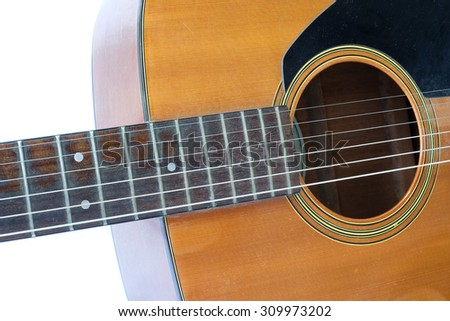Guitar close up isolated in white background - stock photo