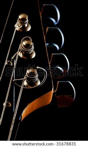 guitar head close-up - stock photo