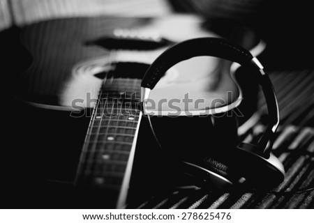 guitar headphones instrument - stock photo