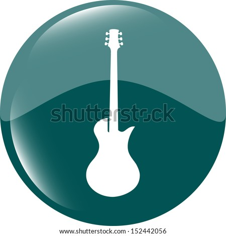 Guitar icon button isolated, raster