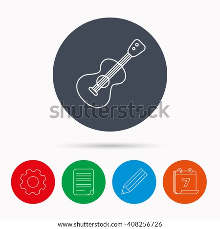 Guitar icon. Musical instrument sign. Band guitarist symbol. Calendar, cogwheel, document file and pencil icons. - stock photo