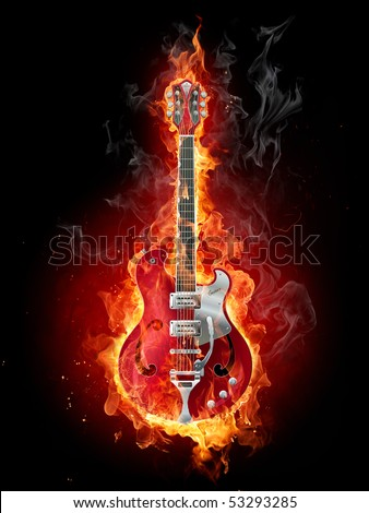 Guitar in flames. - stock photo