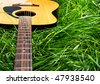 Guitar in Grass - stock photo