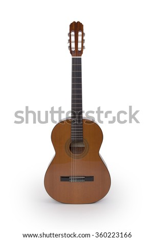 Guitar isolated under the white background - stock photo