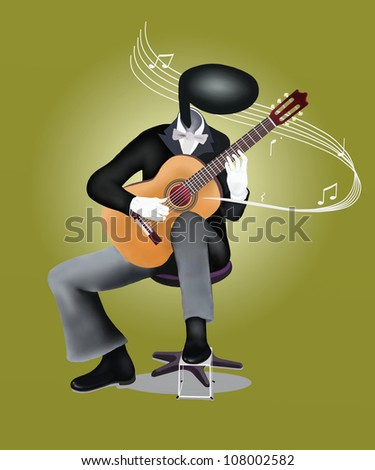 Guitar Man playing a Classical guitar with Musical Notes and Sound Waves - stock photo