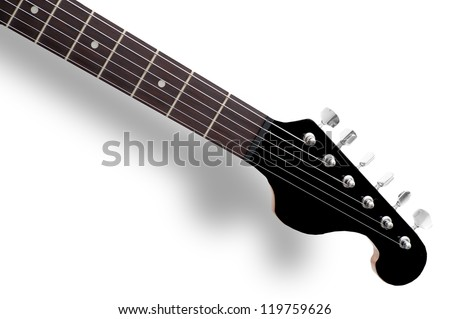 Guitar neck front side, electric guitar made of black polymer and wood - stock photo