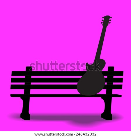 Guitar on a park bench music background - stock photo