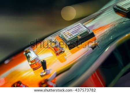 Guitar on  stage, background closeup - stock photo
