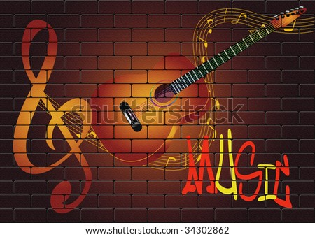 guitar on the wall - stock photo