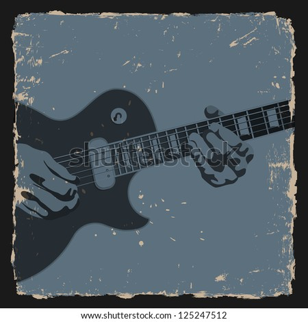 Guitar player on grunge background.Raster version - stock photo