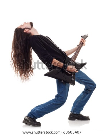 Guitar player playing his guitar leaning back over white - stock photo