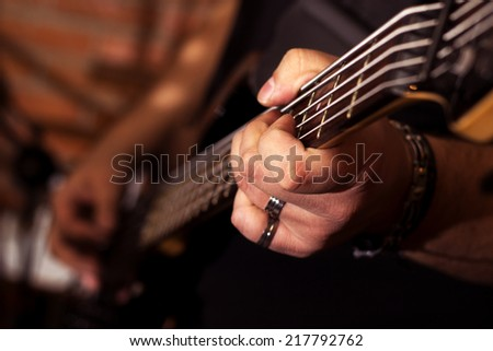 guitar playing - stock photo