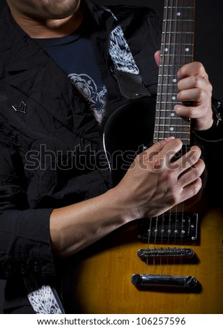 guitar power chords solo - stock photo