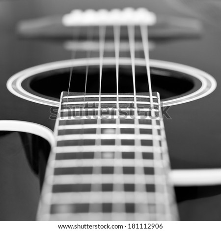 Guitar strings closeup in black and white