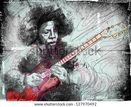 Guitar Virtuoso. /// A hand drawn illustration of an excellent guitar player. ///  Color version (eliminated colors) on damaged grunge background. - stock photo