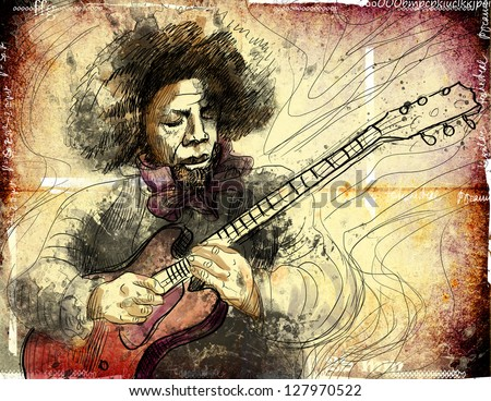 Guitar Virtuoso. /// A hand drawn illustration of an excellent guitar player. /// Color version on damaged grunge background. - stock photo