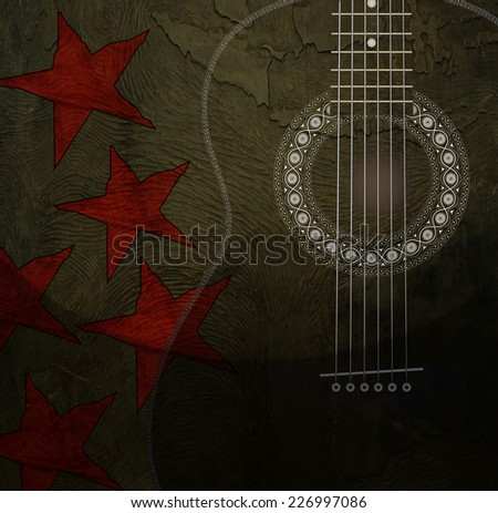 Guitar with stars on bronze background - stock photo