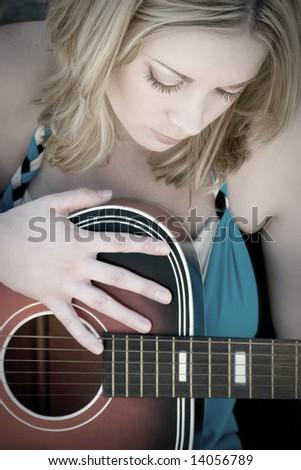 Guitar Woman - stock photo