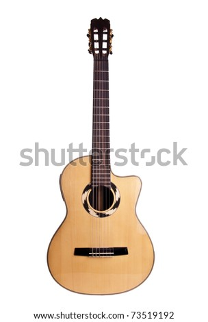 guitar wood art acoustic white brown isolated - stock photo
