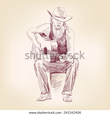 guitarist hand drawn vector llustration realistic sketch - stock photo