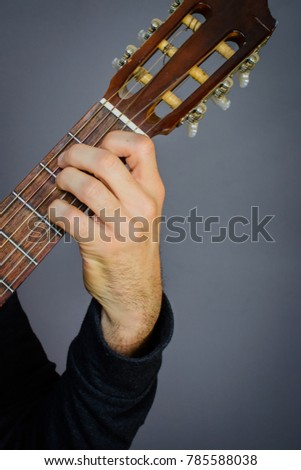 Guitarist Playing E Major 7 Chord Stock Photo (Edit Now) 785588038 ...