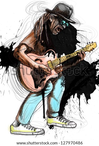 Guitarist, whole body and soul. /// A hand drawn illustration of an excellent guitar player. /// Color version isolated on white. - stock photo