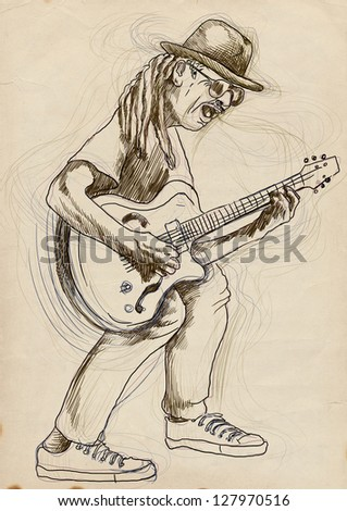 Guitarist, whole body and soul. /// A hand drawn illustration of an excellent guitar player. /// Outlines in shades of green and gray on old paper texture. - stock photo
