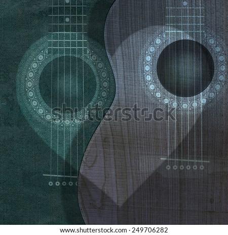 Guitars with heart light - stock photo