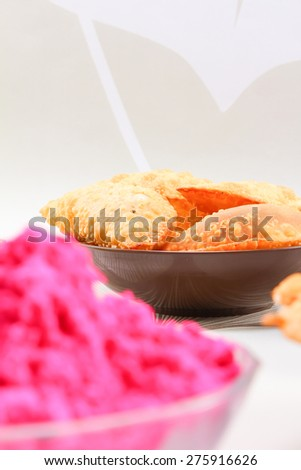gujia and colors, celebration concept - stock photo
