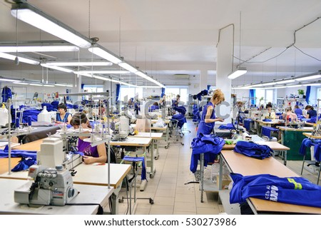 GUKOVO, RUSSIA - SEPTEMBER, 2016: Workers work in a garment factory.