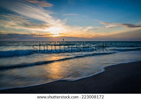 Gulf coast sunset in Florida - stock photo