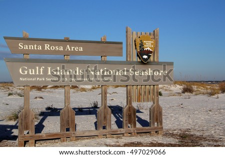 Gulf Islands National Seashore, Santa Rosa Area Entrance Sign, Pensacola, Florida