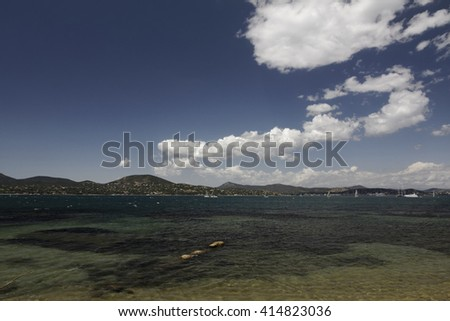 Gulf of Saint Tropez at the French Riviera, Southern France, Europe - stock photo