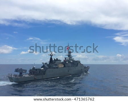 Gulf of Thailand- 5 MAY 2016 : HTMS.Sukhothai training at sea.this ship is Royal Thai Navy corvette class.