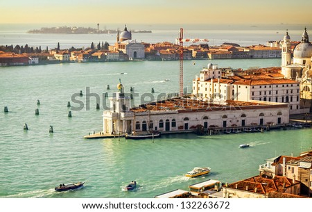 Gulf of Venice, Beautiful water street - Grand Canal in Venice, Italy - stock photo