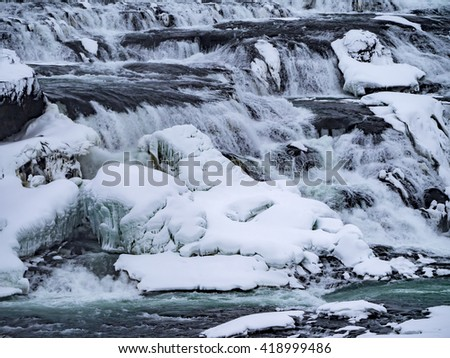 Gulfoss Waterfall Views around Iceland, Northern Europe in winter with snow and ice
