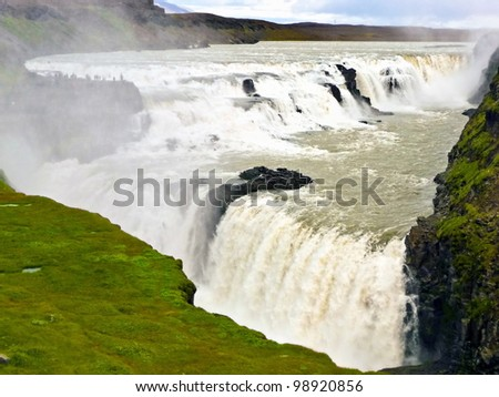 Gullfoss big rapid waterfall view in iceland - stock photo