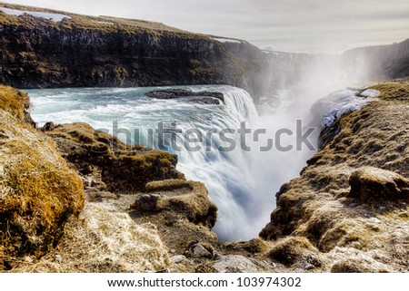 Gullfoss Waterfall on a sunny day in Iceland - stock photo