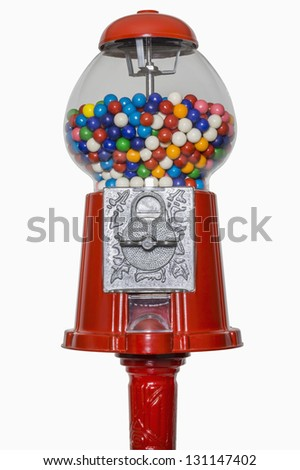 Gumball machine isolated on white, includes clipping path