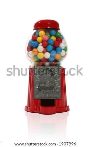 Gumball machine over white with reflection - stock photo