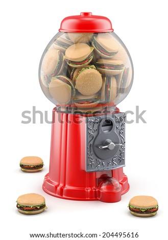 Gumball machine with hamburger - stock photo