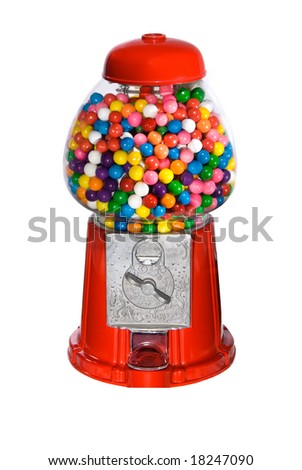 Gumball vending machine filled with colorful gumballs isolated on white - stock photo