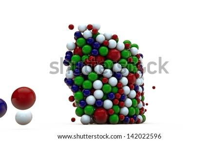 gumballs isolated on white background - stock photo
