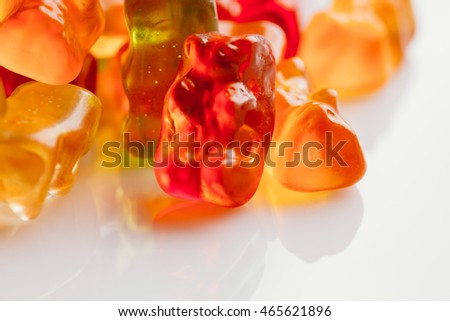 gummi bears close-up on a light background.