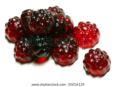 Gummi blackberries the ultimate candy snack for kids and children - stock photo