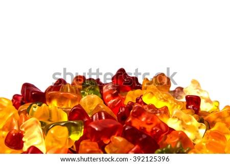 Gummy bear isolated on white - stock photo