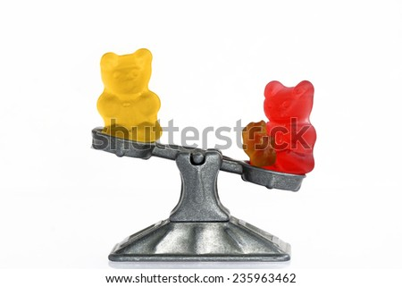 Gummy bear story serial: Mother role in a family - stock photo
