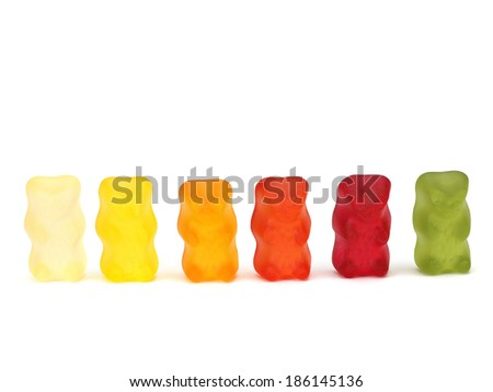 Gummy bears, candies on a white background