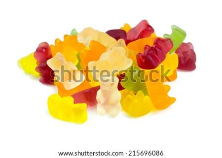 gummy bears over white - stock photo
