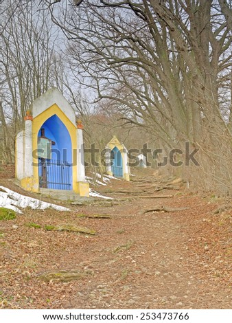 Gumpoldskirchen, AUSTRIA - 17  February 2015: The stations of the cross are a landmark of Gumpoldskirchen, Lower Austria. They are located at a hiking trail.